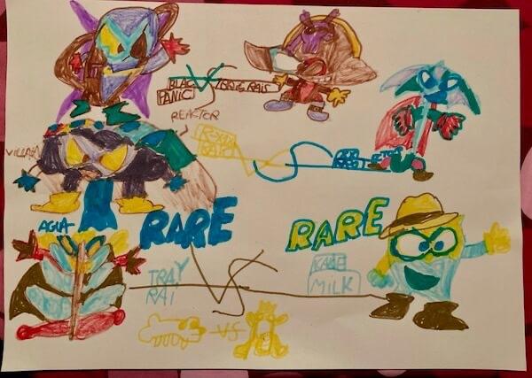 Superthings dibujados por Victor de 7 años.