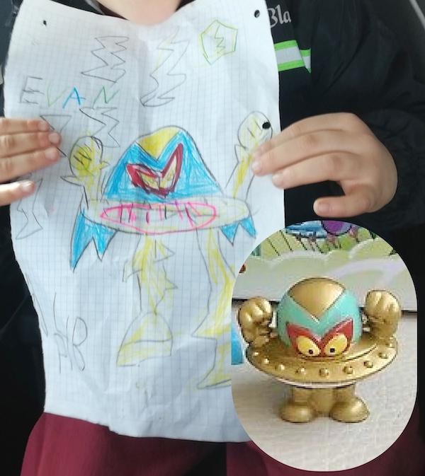 Dibujo de Evan 4 años SuperThings Alien bandit
